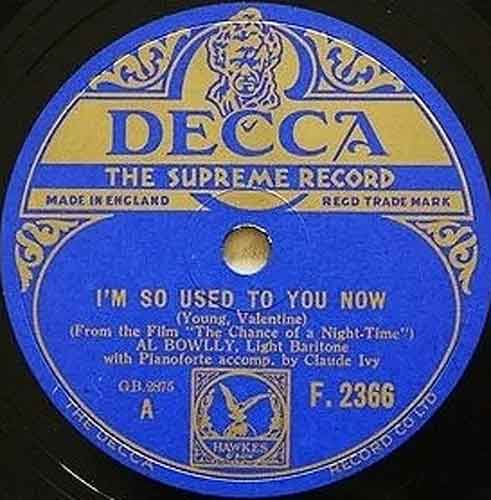 I'm So Used To You Now by Al Bowlly acc. by Claude Ivy (pno)
