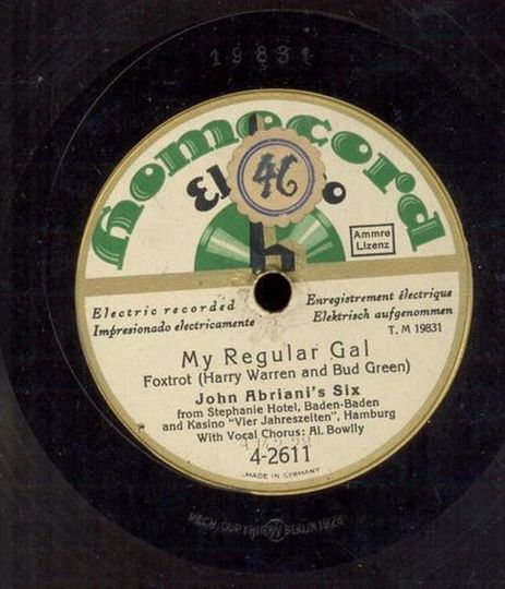 My Regular Girl. If you have better audio, or the original 78rpm record for sale, please contact me. Thanks